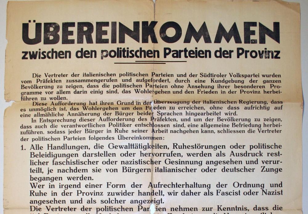 Übereinkommen zwischen den politischen Parteien der Provinz, Bolzano/Bozen, 8.9.1945, Landesmuseum Schloss Tirol