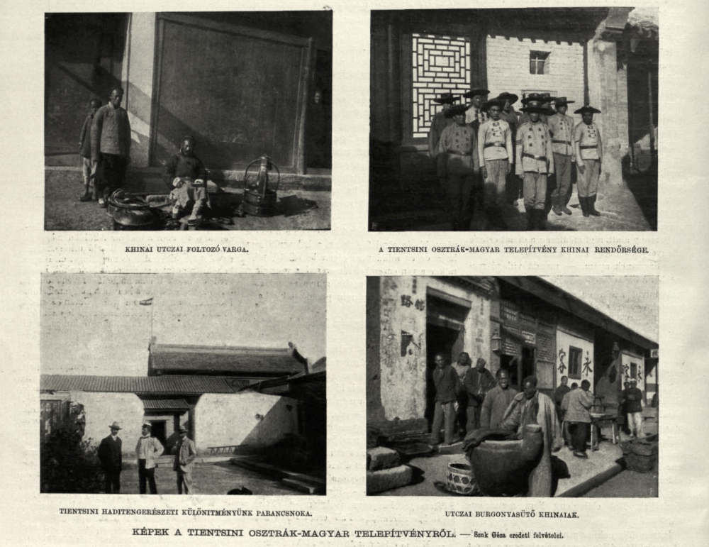 Vier Fotografien eines ungarischen Soldaten in Tianjin, links unten das Gebäude der österreichisch-ungarischen Marine, Tianjin, 1903/1904