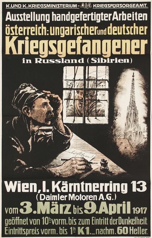 Plakat für eine Propagandaausstellungen mit Handwerksarbeiten von Kriegsgefangenen