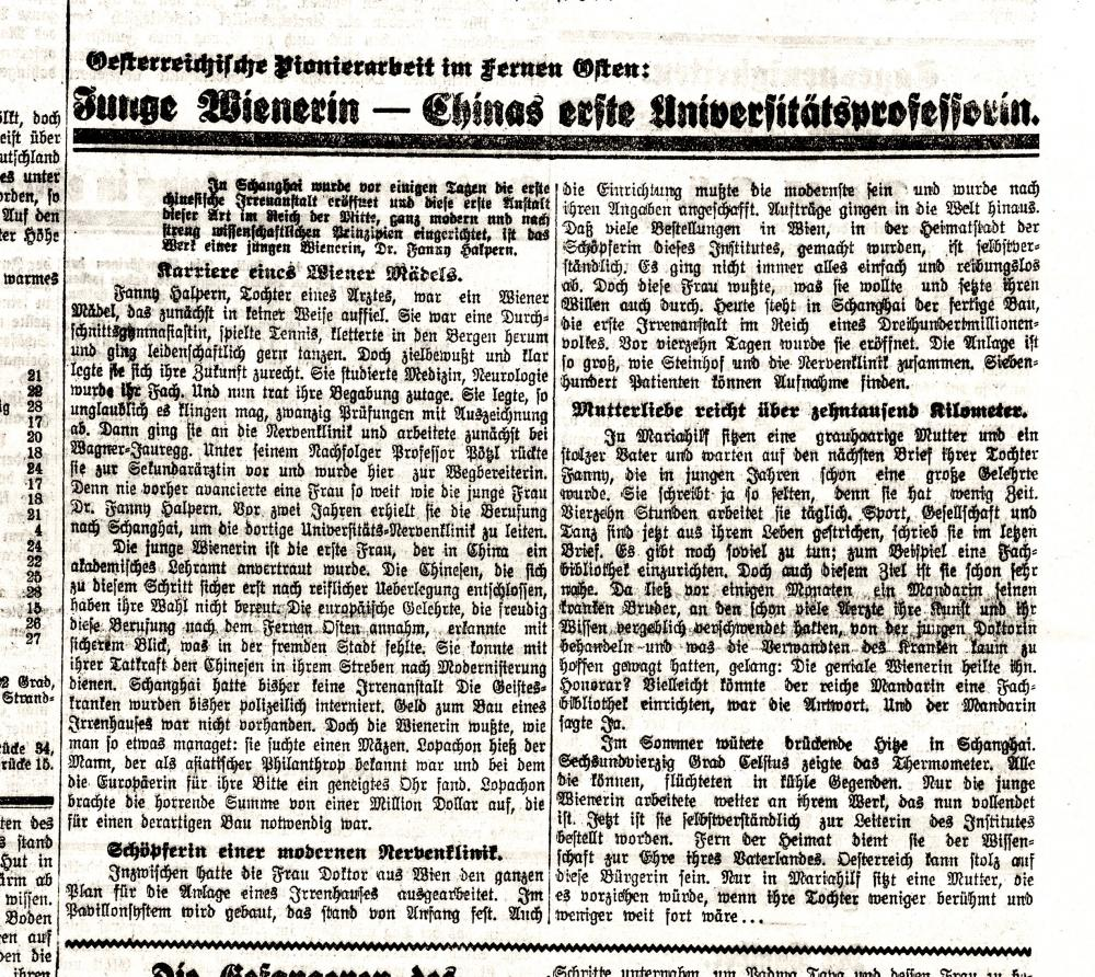 """Zeitungsmeldung zur Gründung einer """"Irrenanstalt"""" unter der Leitung Fanny Halperns"""
