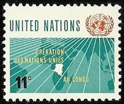 Briefmarke zur Friedensmission der UNO im Kongo