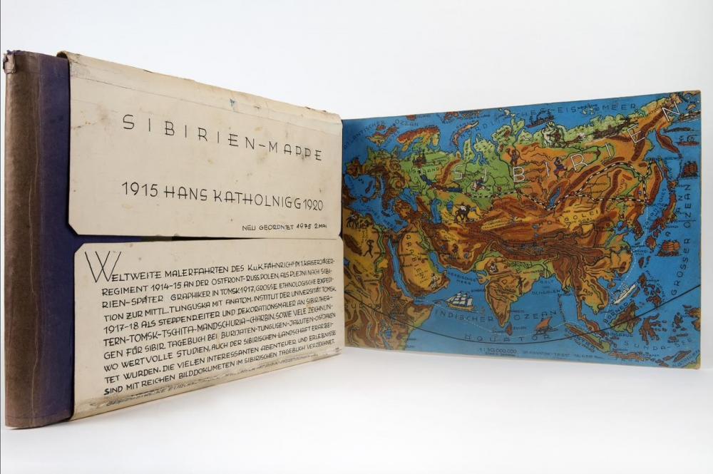 Mappe mit gemalter Landkarte, in der ein österreichischer Kriegsgefangener seine in Sibirien angefertigten Werke sammelte