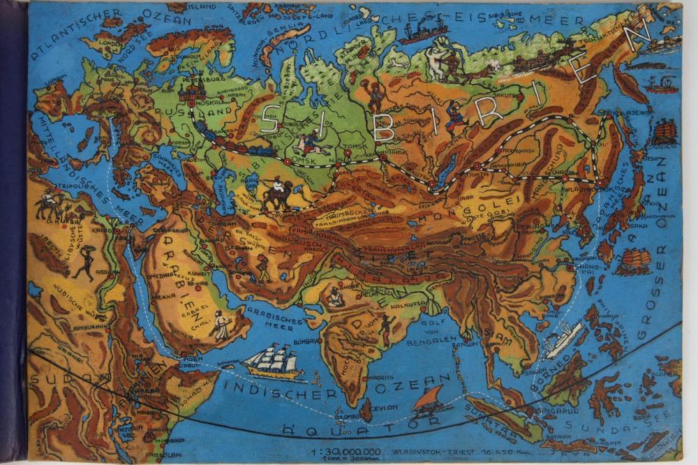 Eine gemalter Landkarte eines österreichischer Kriegsgefangener in Sibirien