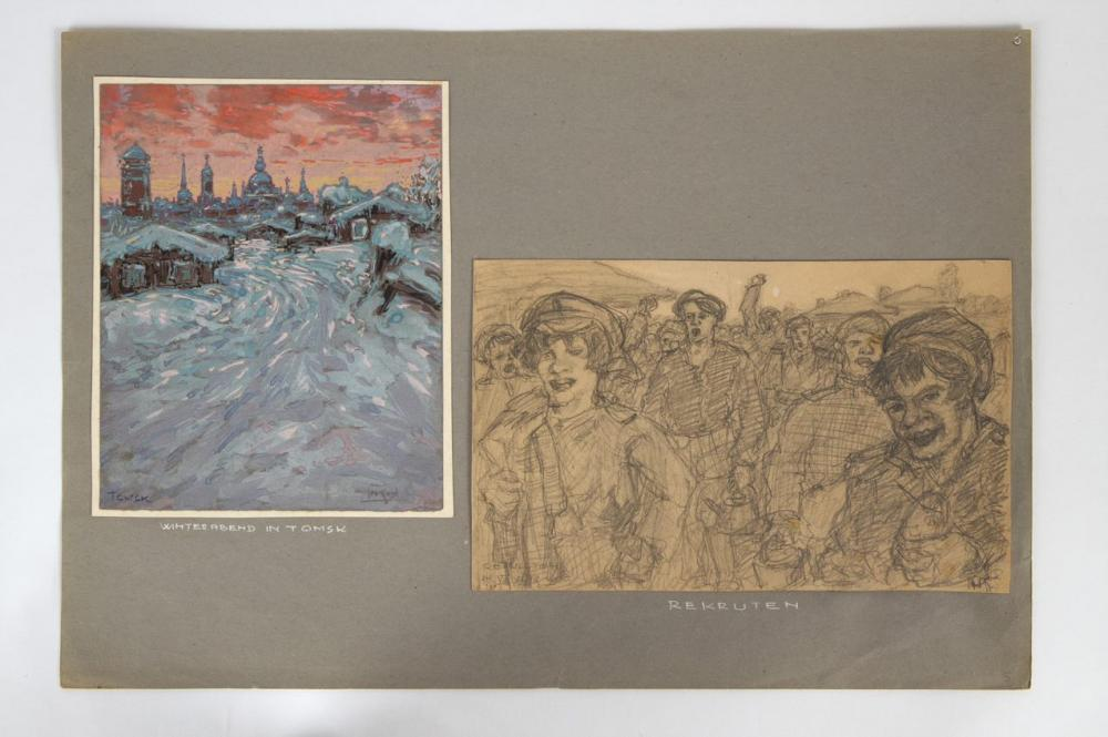 Zwei Zeichnungen, die ein österreichischer Kriegsgefangener in Sibirien anfertigte
