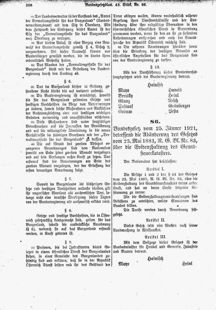 Bundesverfassungsgesetz über die Stellung des Burgenlandes, 25.1.1921