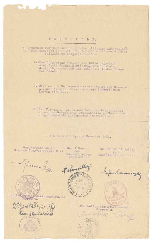 Protokoll über den Stand der Truppen und die Verwaltung im Burgenland, aufgenommen zwischen der interalliierten Kommission im Auftrag der Siegermächte, dem österreichischen Truppenkörper und einem Vertreter des Bezirks Oberwart, Oberwart, 3.12.1921