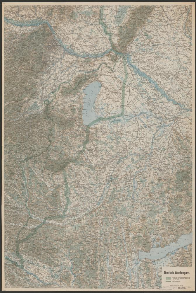 """Karte von """"Deutsch-Westungarn"""" mit Grenzverlauf, 1919"""