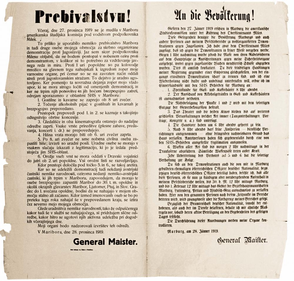 """""""An die Bevölkerung"""", Kundmachung von Rudolf Maister, 28.1.1919"""