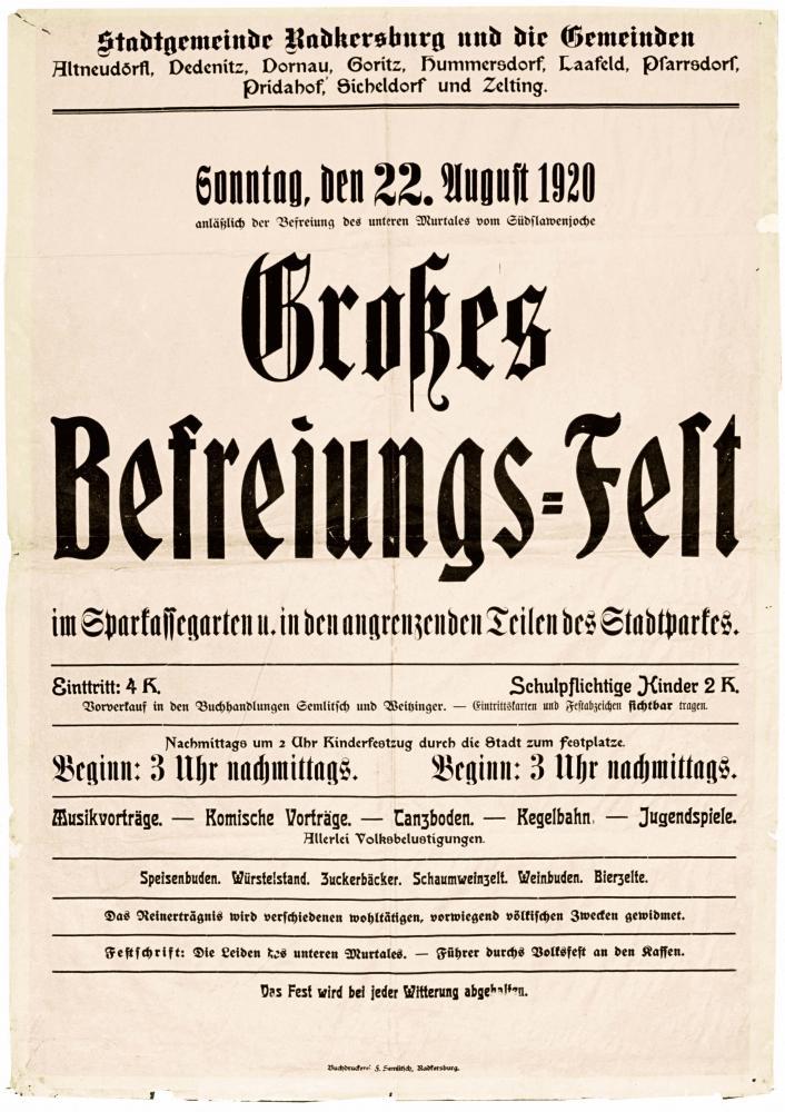 """""""Großes Befreiungs-Fest anlässlich der Befreiung des unteren Murtales vom Südslawenjoche"""", Plakat, 20.8.1920"""