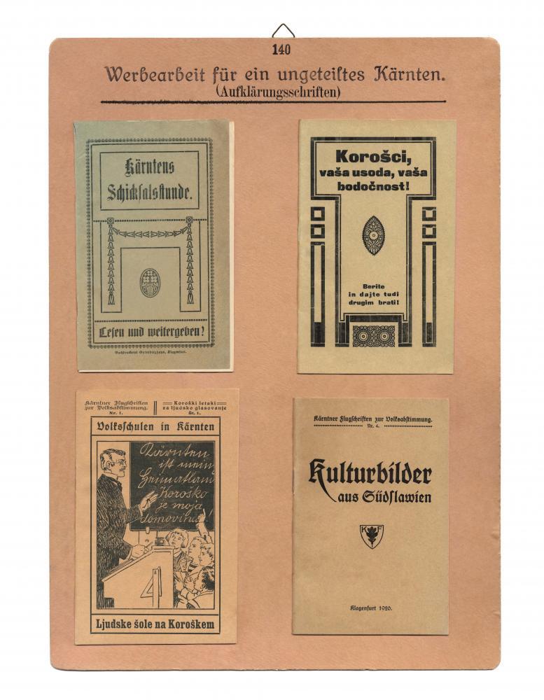 """Aufnahmen von Kärntner Propagandamaterialien für den Verbleib bei Österreich gesammelt von Richard Strauss, geb. 1897, Völkermarkt, für die """"Sammlung Kärntner-Volksabstimmung 1919–1920"""""""