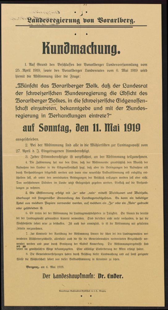Kundmachung der Landesregierung von Vorarlberg über die Abstimmungsfrage vom 11.5.1919.
