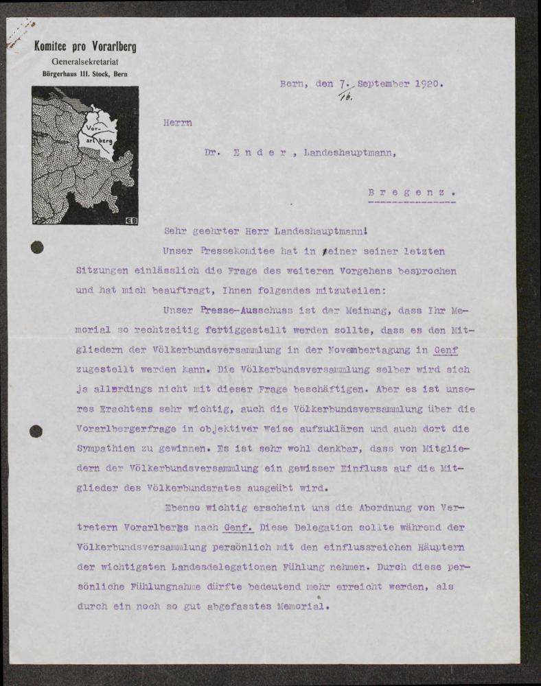"""Brief des """"Comitee pro Vorarlberg"""" an Landeshauptmann Otto Ender, 7.9.1920"""