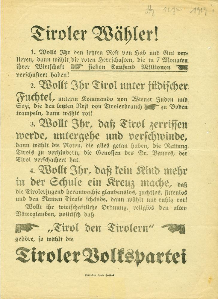 """""""Tiroler Wähler!"""", Aufruf der Tiroler Volkspartei für die Landtagswahl am 15.6.1919"""