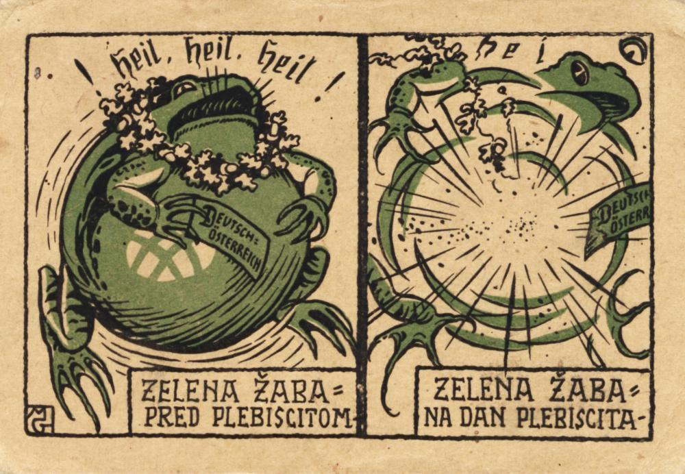 """""""Zelena Žaba pred plebiscitom – Zelena Žaba na dan plebiscita""""  (""""Der grüne Frosch [für Österreich] vor der Abstimmung – der grüne Frosch nach der Volksabstimmung"""") Flugblatt zur Kärntner Volksabstimmung, 1920."""