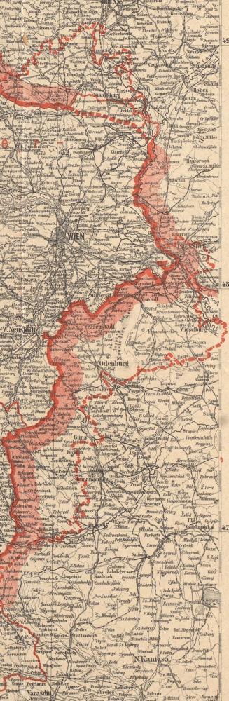 """Deutsch-Österreich nach den Forderungen des Friedensentwurfs der Entente, Ausschnitt: Burgenland.   Diese Karte wurde zu Beginn der Friedensverhandlungen im Juni 1919 in Wien veröffentlicht. Sie ist gekennzeichnet von Unklarheiten und geringen Erwartungen. Der Titel schreibt den Alliierten rachsüchtige """"Forderungen"""" zu, die durch den eng gezeichneten Verlauf der Grenzen noch übertrieben werden. Dass das umkämpfte Burgenland Teil Österreichs werden könnte, wird nicht in Aussicht gestellt."""