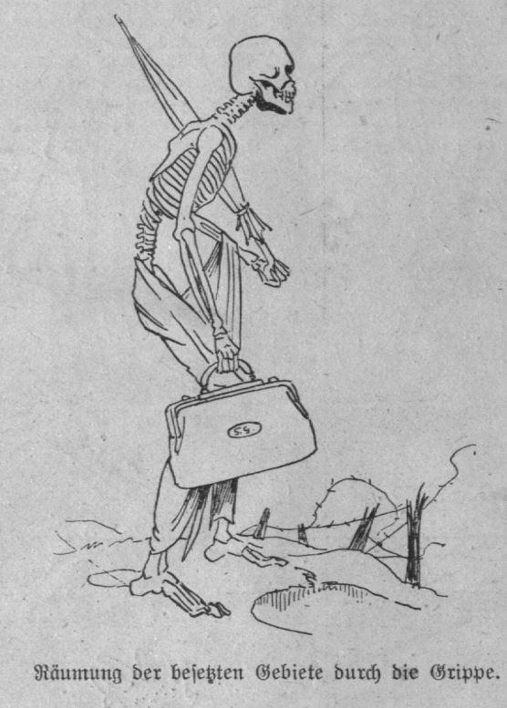 Eine Karikatur thematisiert die Gefahr der Pandemie am Ende des Ersten Weltkriegs.