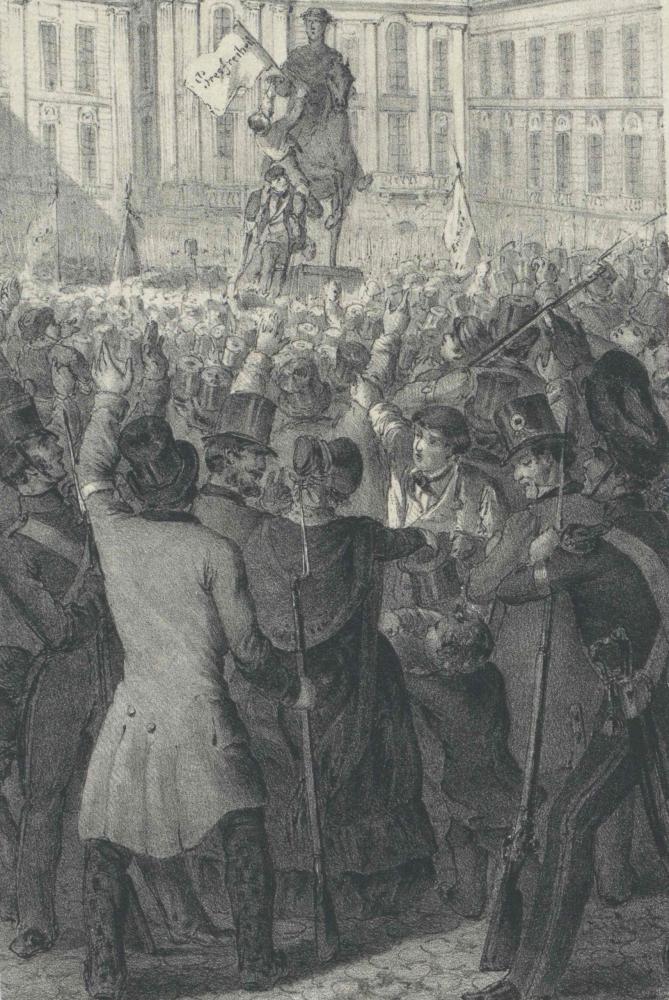 Der Reiterstatue Kaiser Josephs II. wird eine Fahne mit der Forderung nach Pressefreiheit aufgesteckt, Wien, Josefsplatz, 1848
