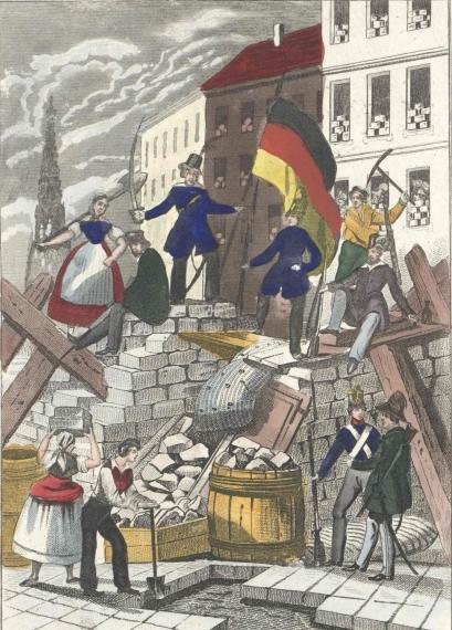 Darstellung einer Barrikade während der Kämpfe der Märzrevolution in Wien, datiert auf den 26.5.1848