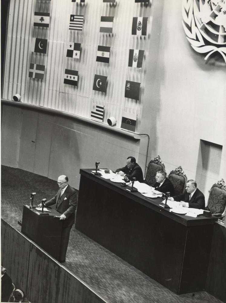 Beschluss der Allgemeinen Erklärung der Menschenrechte durch die Generalversammlung der UNO am 10. Dezember 1948, im Palais de Chaillot in Paris