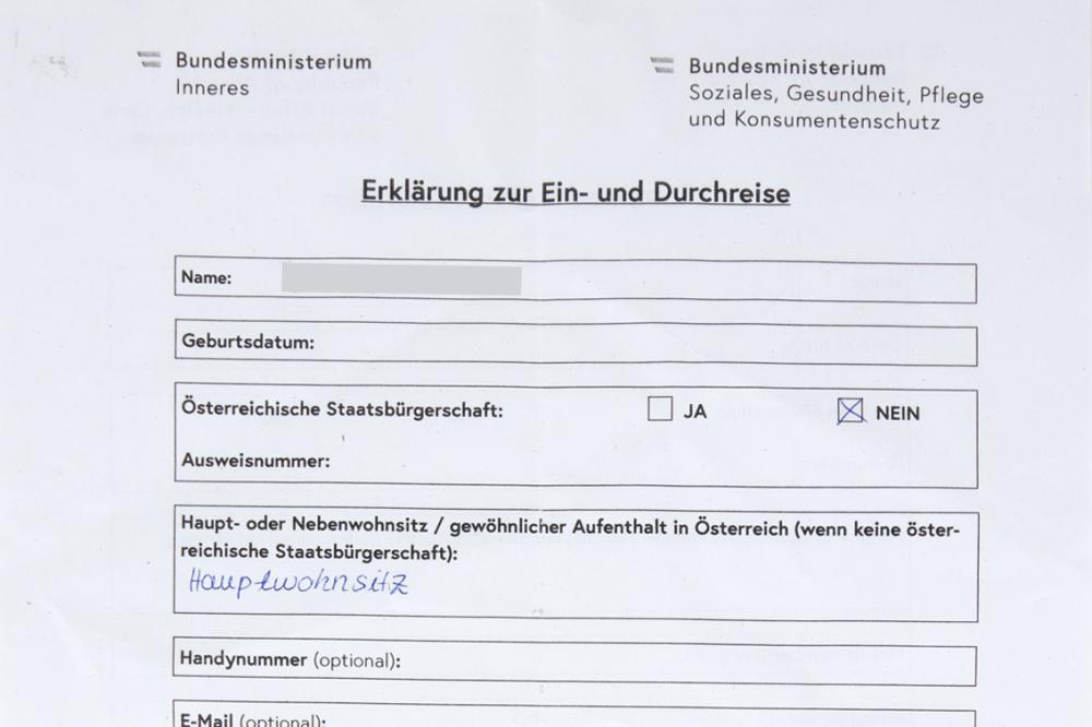 Dokument Grenzübergang Deutschland – Österreich, Juni 2020