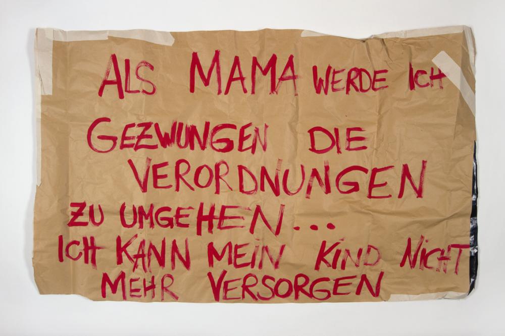 Plakat zur gesetzeswidrigen Öffnung eines Lokals in Linz, Jänner 2021